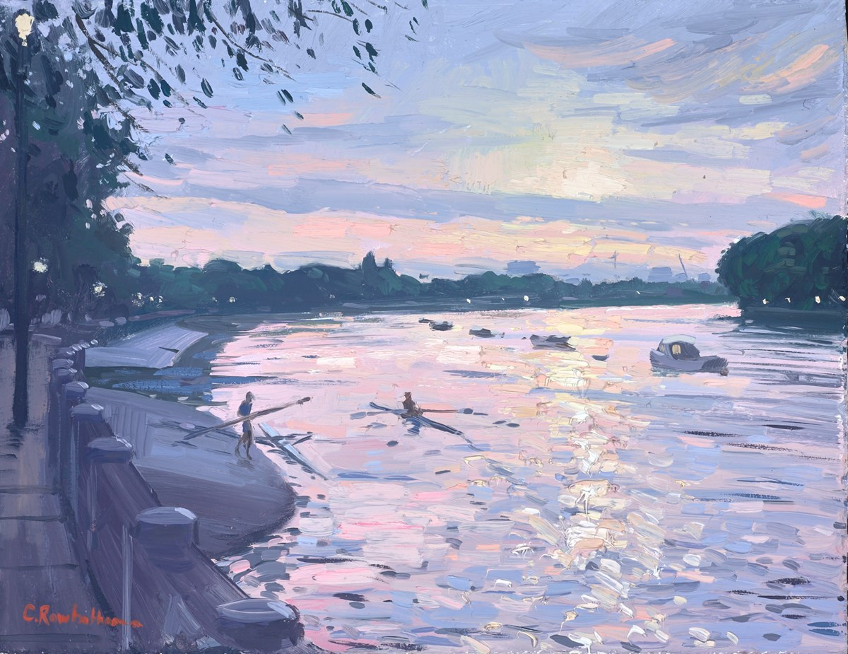 Rowers at Sunset, Putney Bridge by charles rowbotham -  sized 12x9 inches. Available from Whitewall Galleries